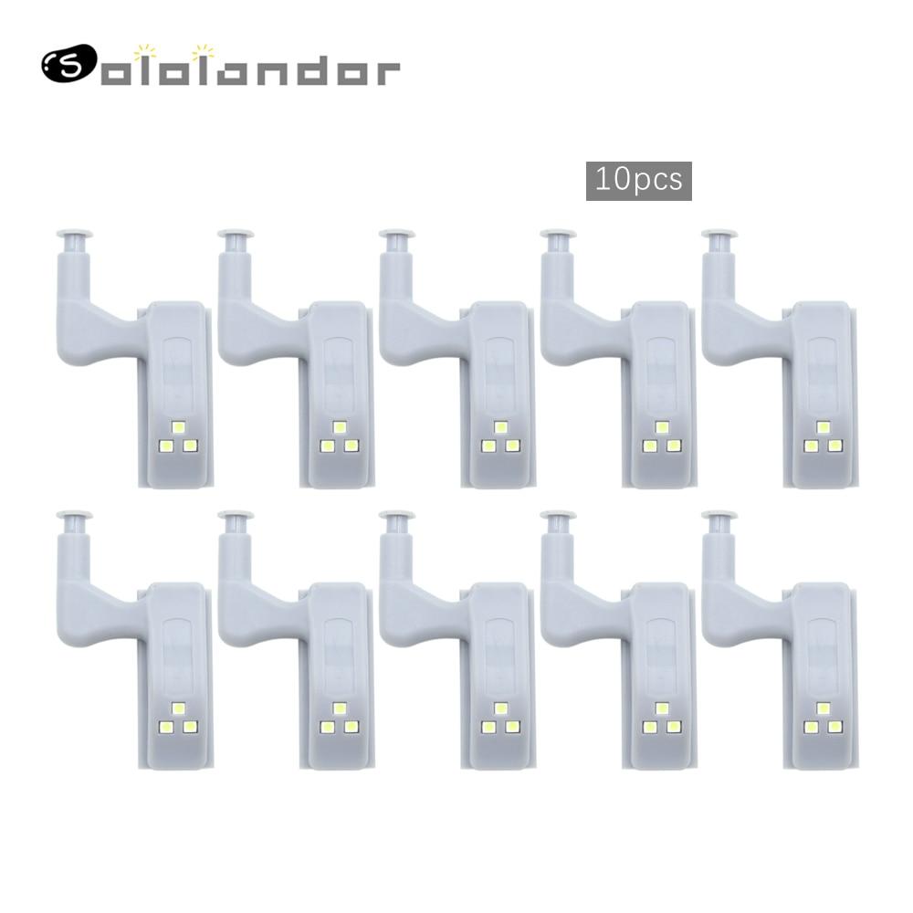 SOLOLANDOR 10Pcs LED Smart Touch Induction Cabinet Light Cupboard Inner Hinge Lamp Sensor Light Night Light for Closet Wardrobe