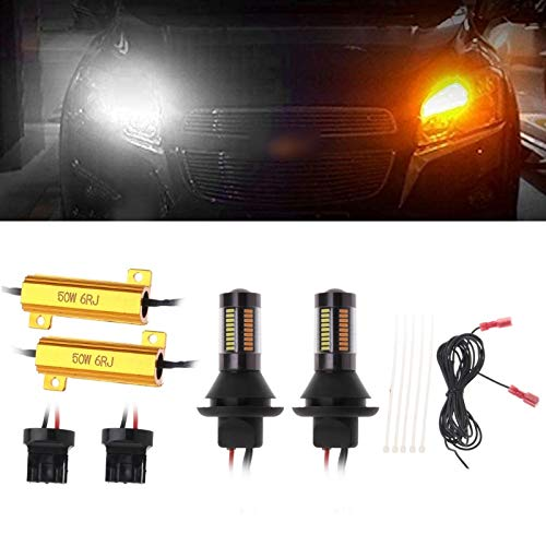 Blanco/ámbar Switchback LED bombillas Kit coche 1156 BA15S/BAU15S/7440/3156 66 SMD señal de giro luz de Error Canbus gratis w/ Resistor DRL