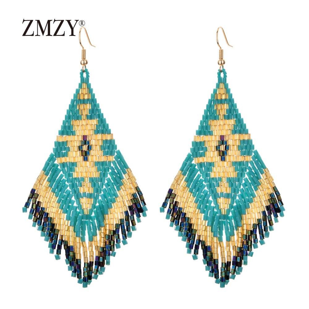 ZMZY Ethnic Earings Fashion Jewelry Boho Drop Earrings for Women Bohemian Long Tassel Crystal Bead Handmade Earring Fringe Gifts