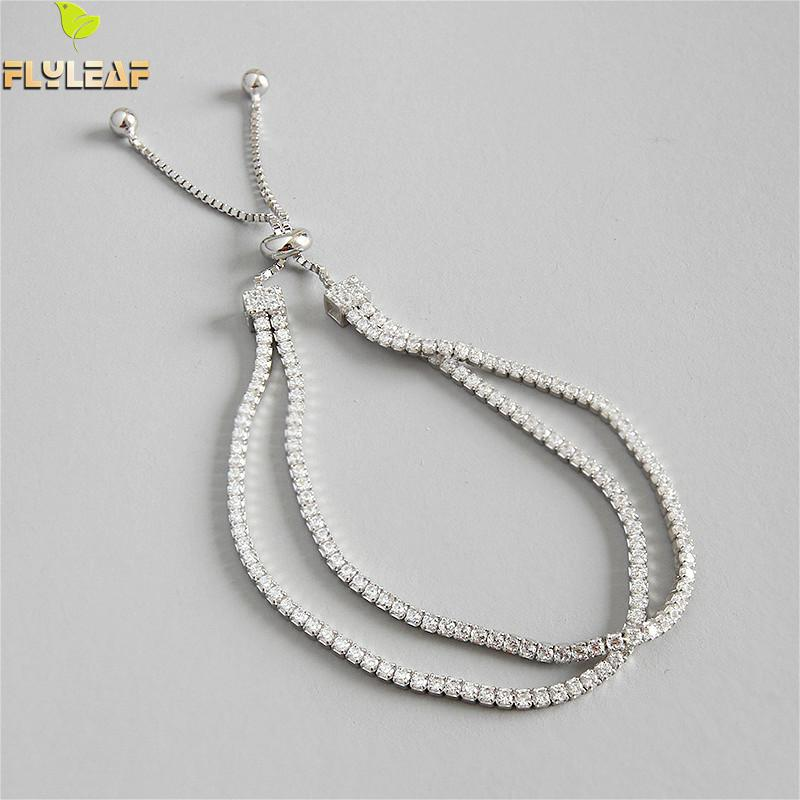 Pulseras de plata de ley 925 Flyleaf para mujer, Zirconia cúbica, doble capa, brazalete de joyería fina Simple a la moda y brazaletes