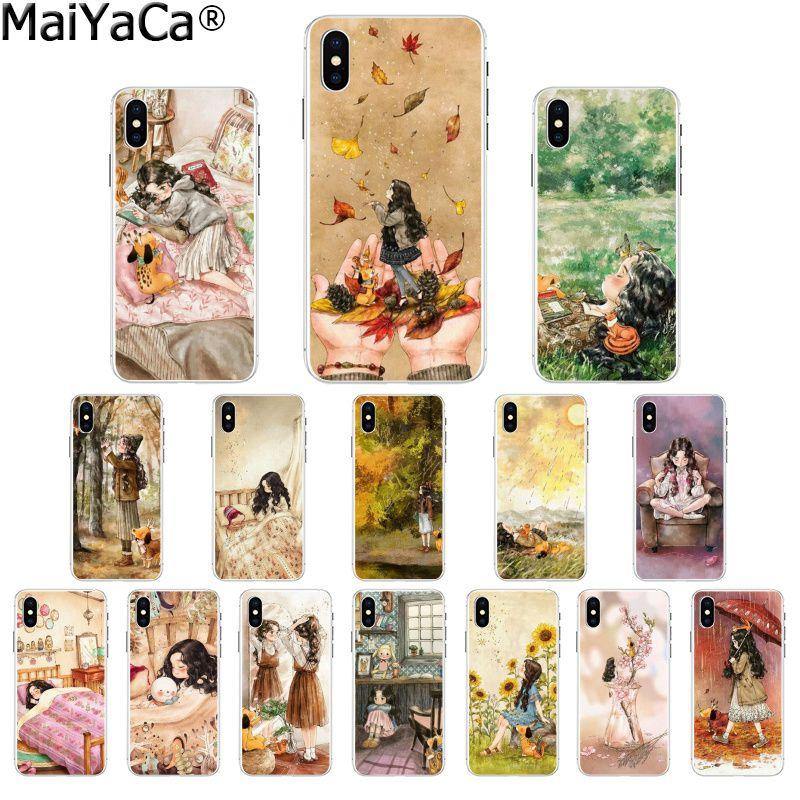 MaiYaCa arte Paniting diario perro chica de bosque lindo colorido de la caja del teléfono para Apple iPhone 7 6 6S Plus X XS X MAX 5 5S SE XR