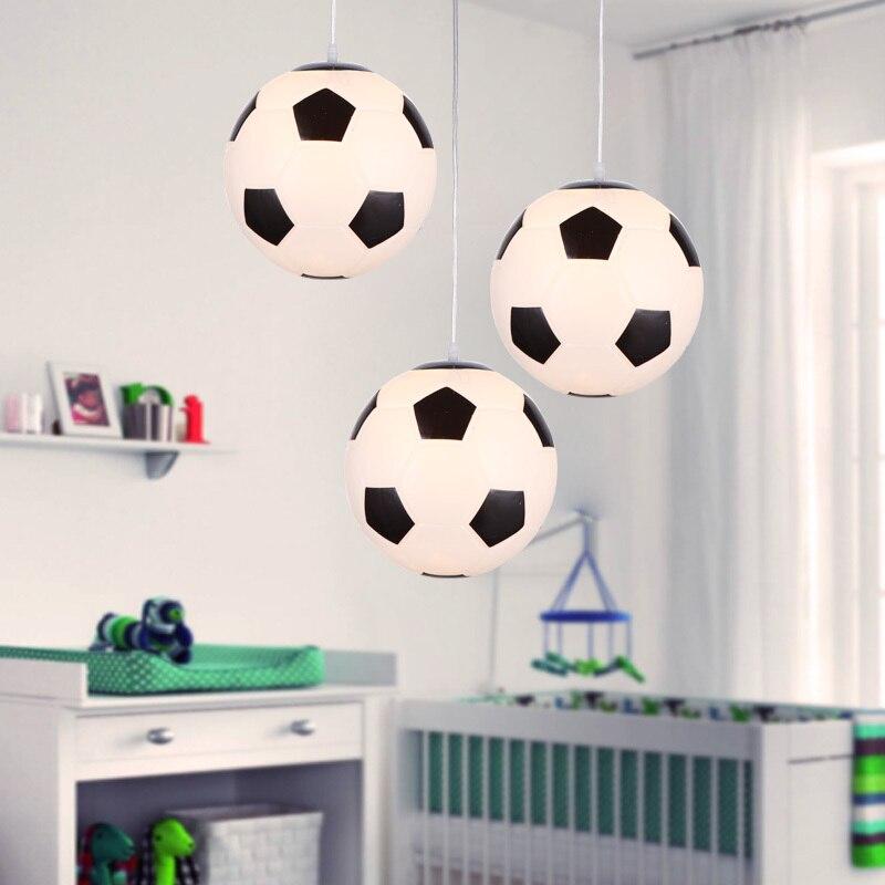 Criativo futebol e basquete moderno led pingente luzes bola, led luminária iluminação sombra de vidro para meninos conduziu a lâmpada do teto
