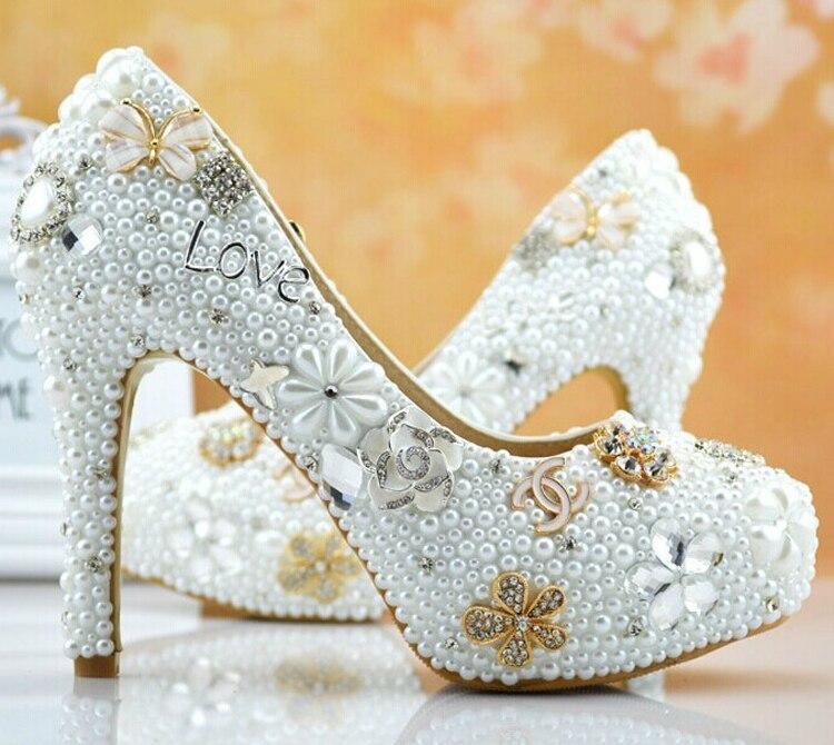Zapatos formales populares de lujo, íntegramente con perlas, tacón alto para mujer, joyería Formal para fiesta de boda y graduaciones, zapatos para dama de honor