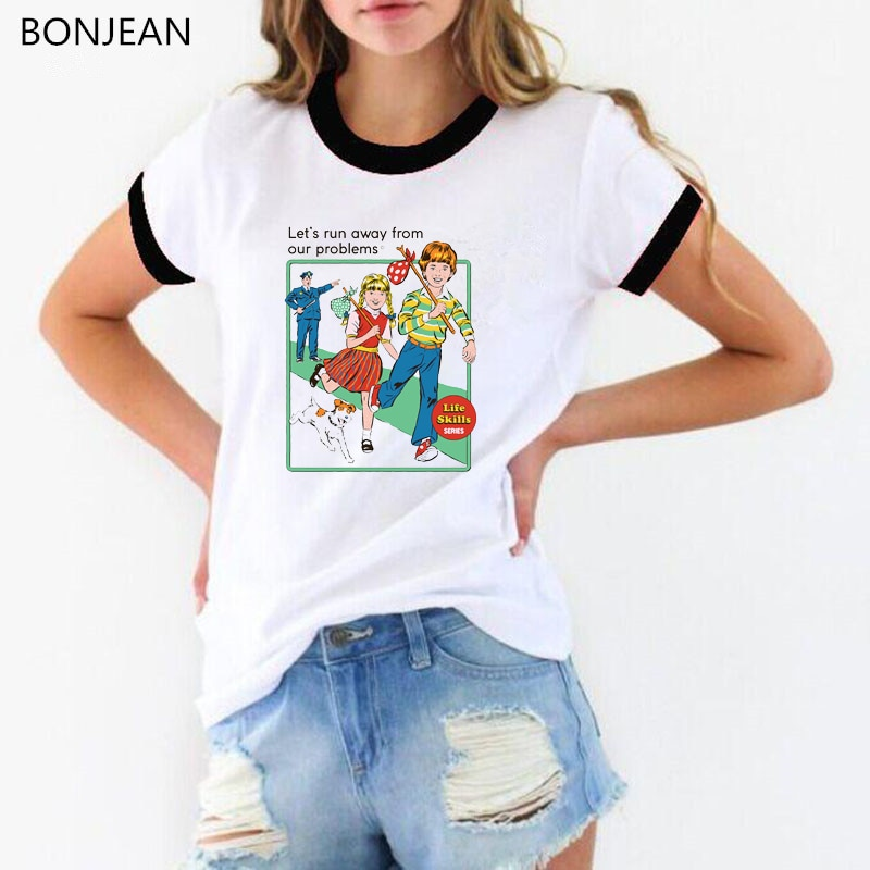 Ucieknijmy kobiety t koszula śmieszne koszulki biała harajuku letnia koszulka z nadrukiem femme top w stylu vintage wesoła świąteczna koszulka