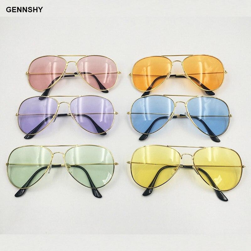 2018 Fashion Classic Candy Color Sunglasses Women Men Retro Brand Design Gold Metal Pilot Sunglasses Transparent Ocean Lenses