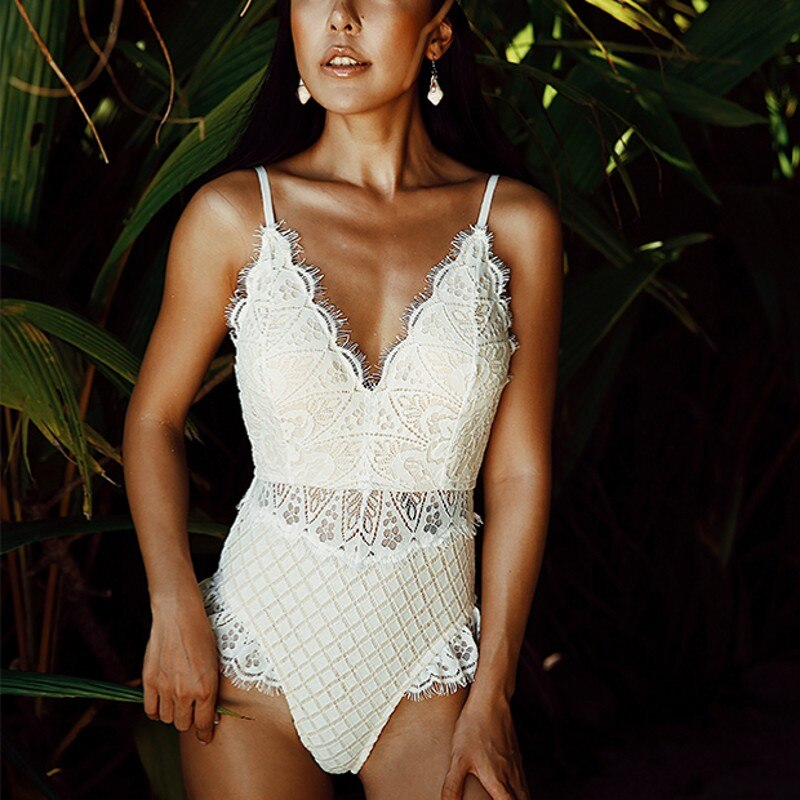 Top Quality New Sexy Lace Crochet Swimsuit For Wome Deep V Neck Straps High Waist Slim Beach Swimming One Piece Bodysuit Bikini