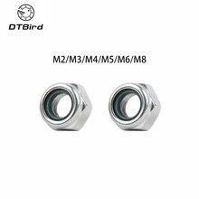 50/100 pièces M2/M2.5/M3/M4/M5/M6/M8 galvanisé Anti desserrage en acier au carbone auto-blocage écrou en Nylon tablier écrou hexagonal Six Angle bouchon à vis