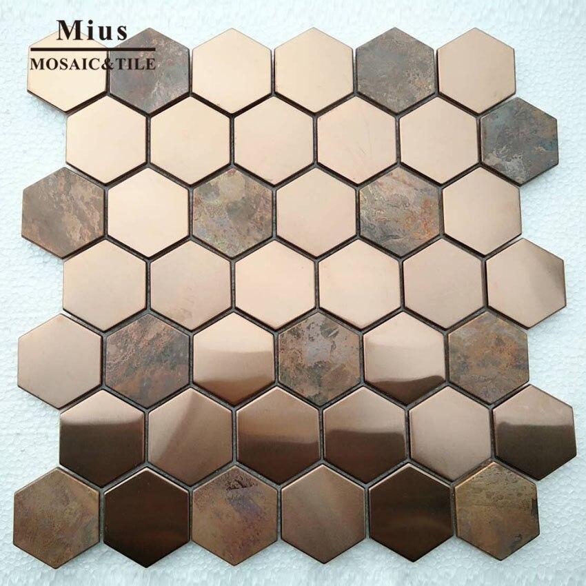 بلاط فسيفساء بلاط الحمام ، Hexagenal al ، معدن الذهب الوردي ، البني ، النحاس ، بلاط الفسيفساء