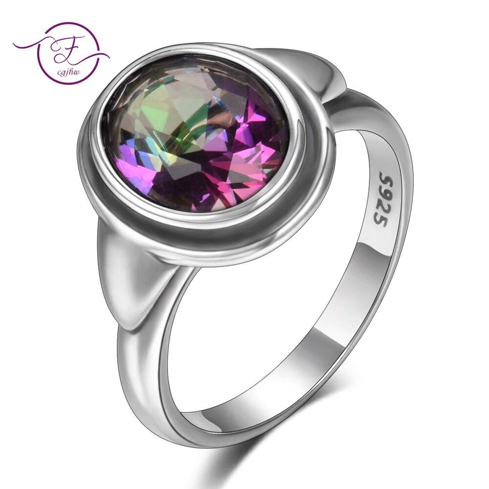 Encantos 8x10mm pedra preciosa topázio mulher anéis de casamento 925 jóias de prata meninas feminino festa aniversário presente atacado