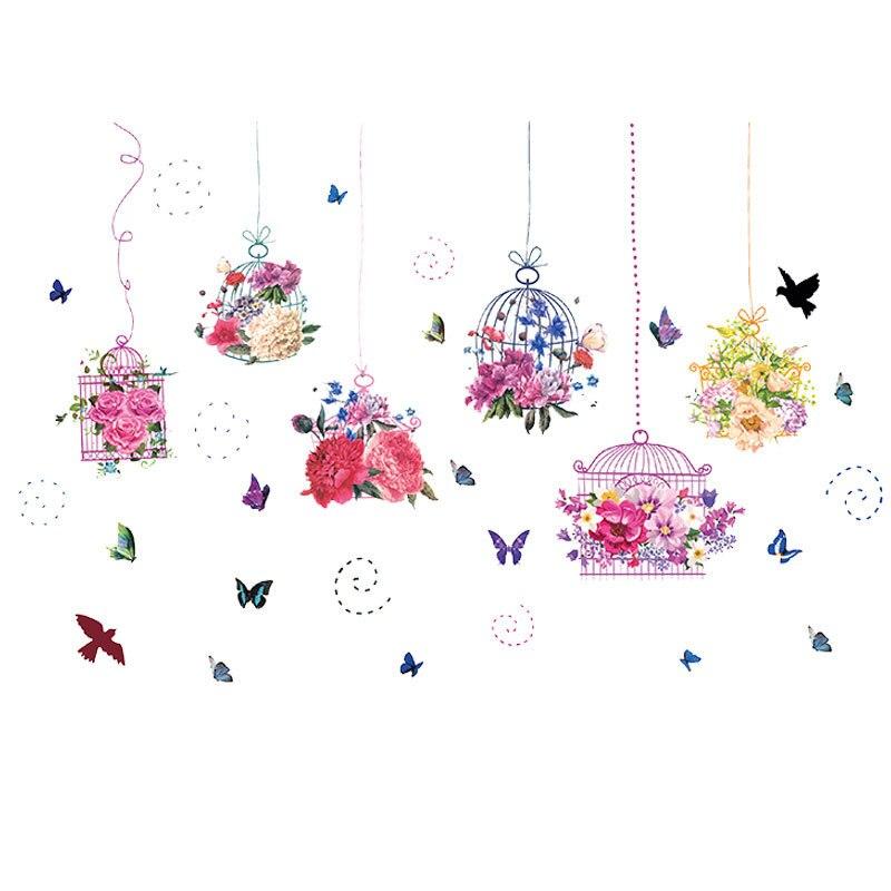 Купить с кэшбэком Pastoral style Butterfly flower bird cage Wall Sticker Living room bedroom decorations wallpaper Mural Removable stickers