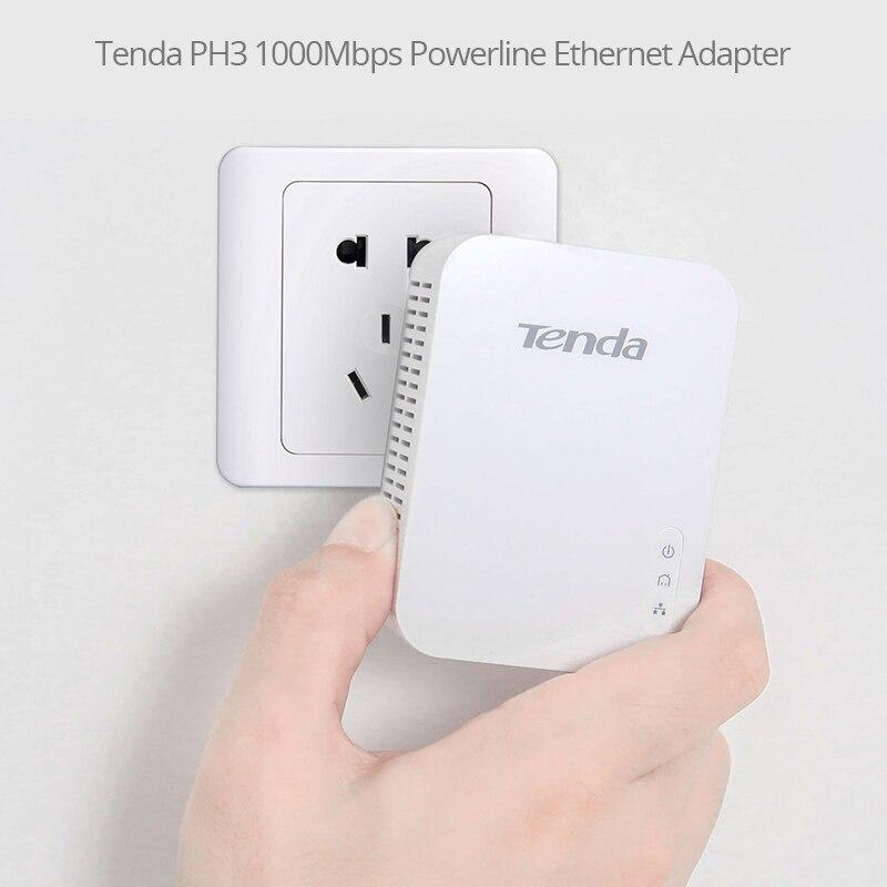 1Pair Tenda PH3 1000Mbps Powerline Network Adapter, AV1000 Ethernet PLC Adapter,Wireless WiFi Router Partner, IPTV, Homeplug AV2 enlarge