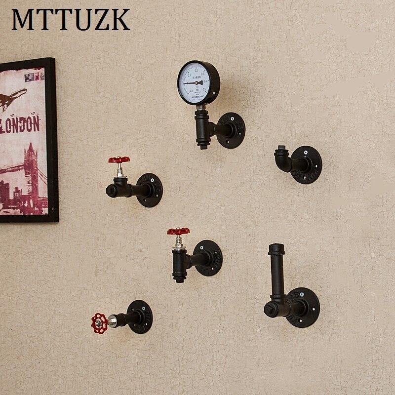 MTTUZK Black Iron Pipe Robe hooks Clothes hooks Kitchen hooks living room wall hanging Bar decoration robe rack  MT1905