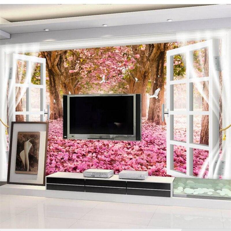 Papel pintado personalizado de wellyu mural estéreo 3D fuera de la grulla escénica baile Sakura saktv TV FONDO de TV papel de pared mural