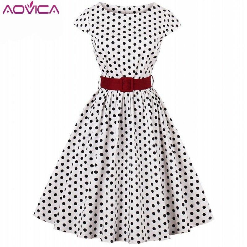 Платье Aovica 3XL 4XL большого размера, черное, белое, в горошек, с принтом, летнее, женское, с рукавом-крылышком, винтажное, рокабилли, повседневное, женское платье
