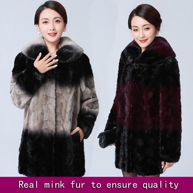 Real mink fur coat medium long female middle-aged mother outerwear winter natural mink fur jacket patchwork