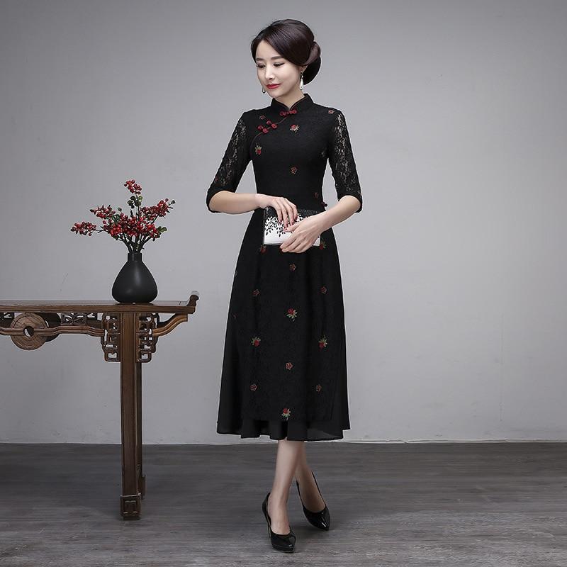 Black Floral Oversized Sexy Cheongsam Female Lace Qipao NEW Chinese Classic Dress Embroidery Vietnam Aodai Slim Vestidos M-3XL