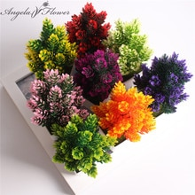 1 Set vase + flower artificial potted plants small bonsai plastic fake flower wedding Christmas decoration for home flower gift