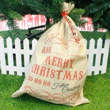 New arrival  Christmas  Simple Art Gift Bag Red drawstring Canvas Santa Sack Vintage Christmas Stocking Bag Decoration
