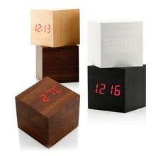 1 шт. квадратные деревянные часы мини светодиодные цифровые настольные головоломки будильник электронные часы Рабочий стол 60x60x60 мм 4 цвета