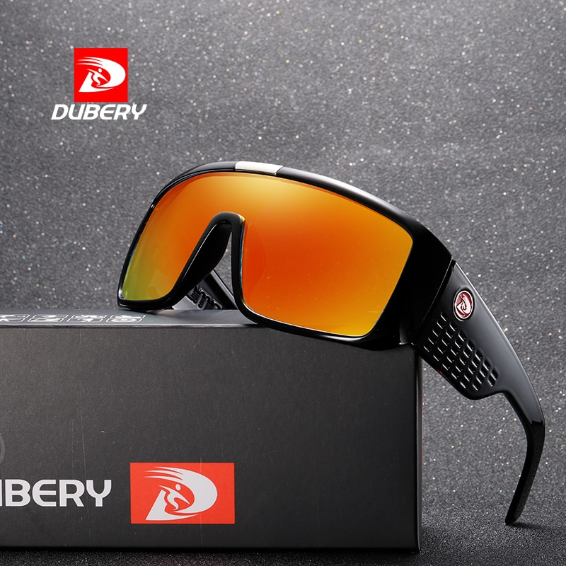 DUBERY Vintage Retro Big Oversized Shield Sunglasses Men Coating Mirror Driving Sun Glasses 2018 Eye