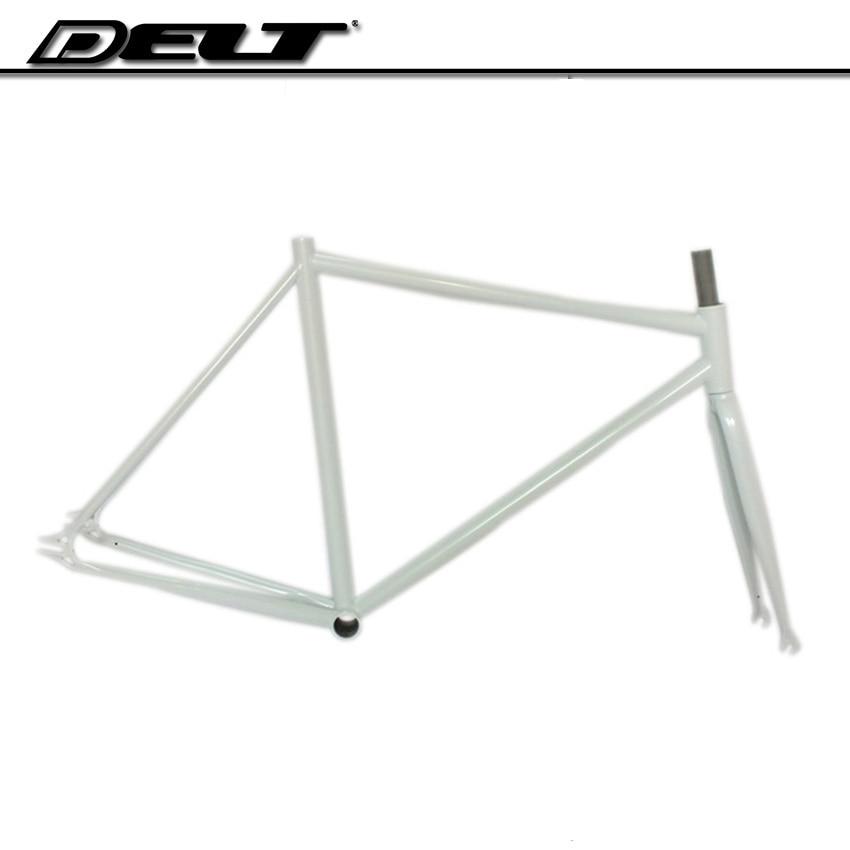 Marco de bicicleta de piñón fijo cr-mo de acero, 510mm x 700C, accesorios blancos de marcha única 4130 brillantes