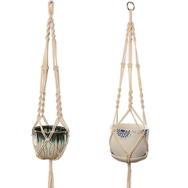 Cintre de plante en macramé   Corde de coton, filet de porte-panier suspendu pour plantes dintérieur et dextérieur, décoration de jardin de poche G0008