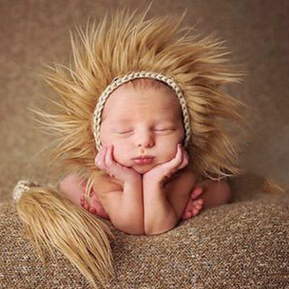 Baby autumn winter hat hand-woven boy lion hat photo props neonatal birthday gift