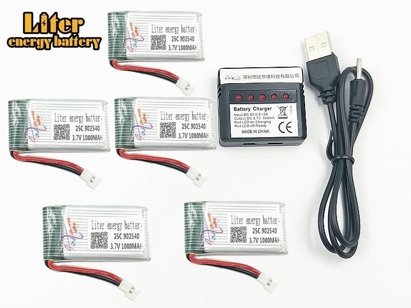 1000 mAh 3,7 V 902540 25c LiPo batería + cargador USB para SYMA X5C X5 X5SW X5HW X5HC RC Drone piezas de batería de repuesto Quadcopter