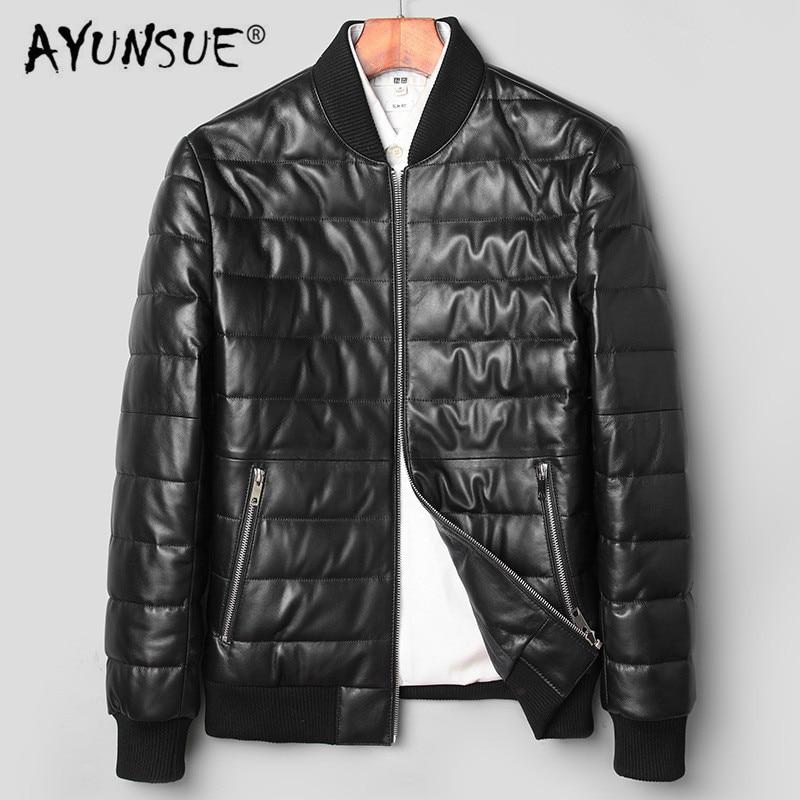 سترة AYUNSUE للرجال, AYUNSUE سترة جلدية للرجال معطف الشتاء جلد الغنم معطف الرجال جلد طبيعي دافئ أسفل جاكيتات veste cuir homme 71C1709 YY288