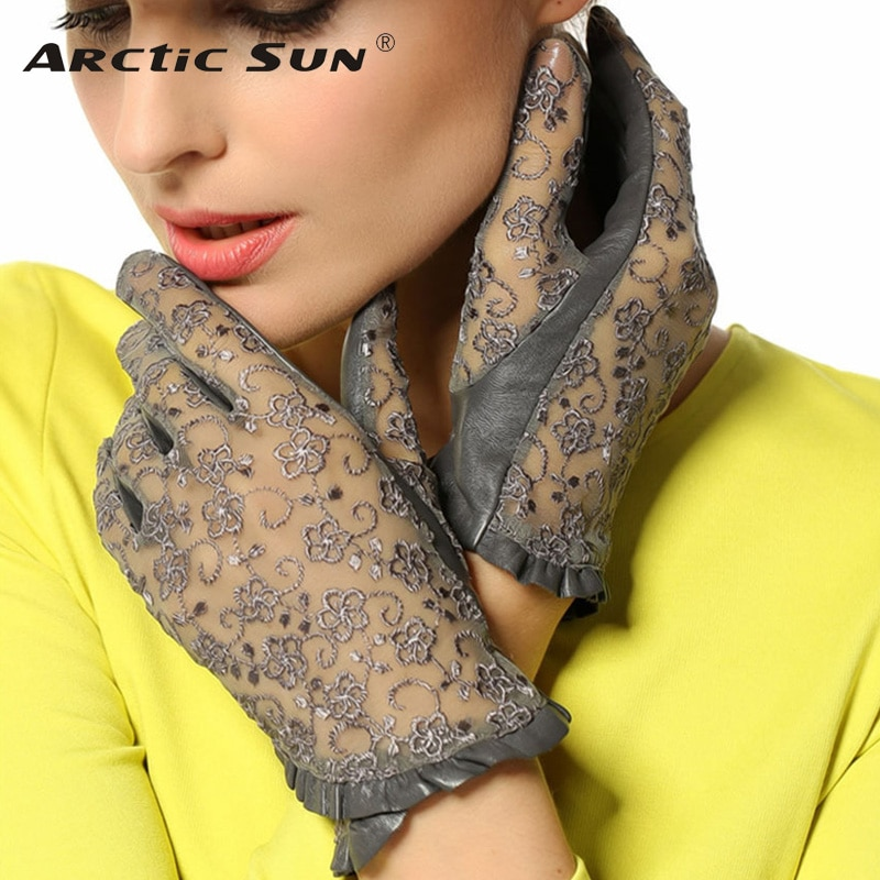 Hot Sale Medival Lolita Women Lace Genuine Leather Gloves Unlined Nappa Lambskin Wrist Sunscreen Glove Free Shipping L095N