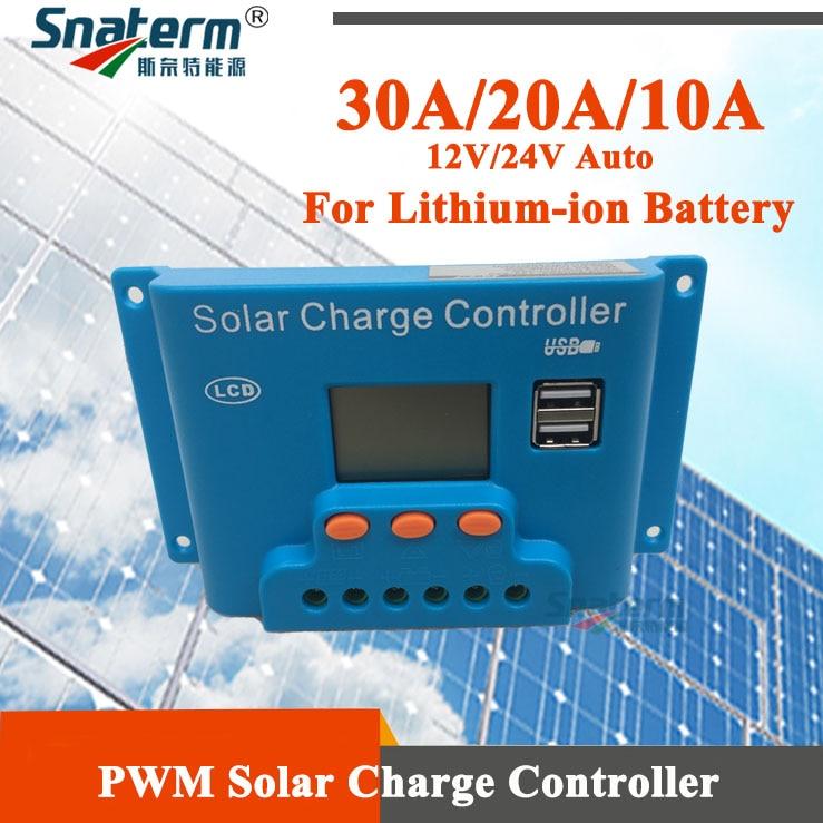Solar de 12V 24V controlador de carga PV 30A 20A 10A con pantalla LCD para batería de litio/ácido de plomo/batería de fosfato de hierro de litio