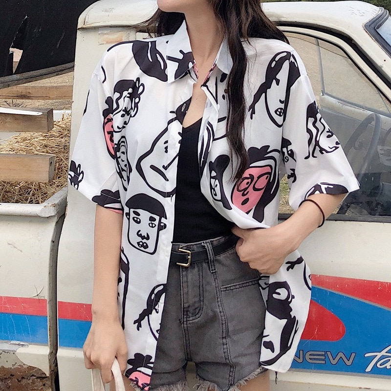 Cute Button Up Turn-down Collar Blouses Cartoon Print Blouse Shirt Women Summer Tops 2019 Fashion Casual Short Sleeve Blusas