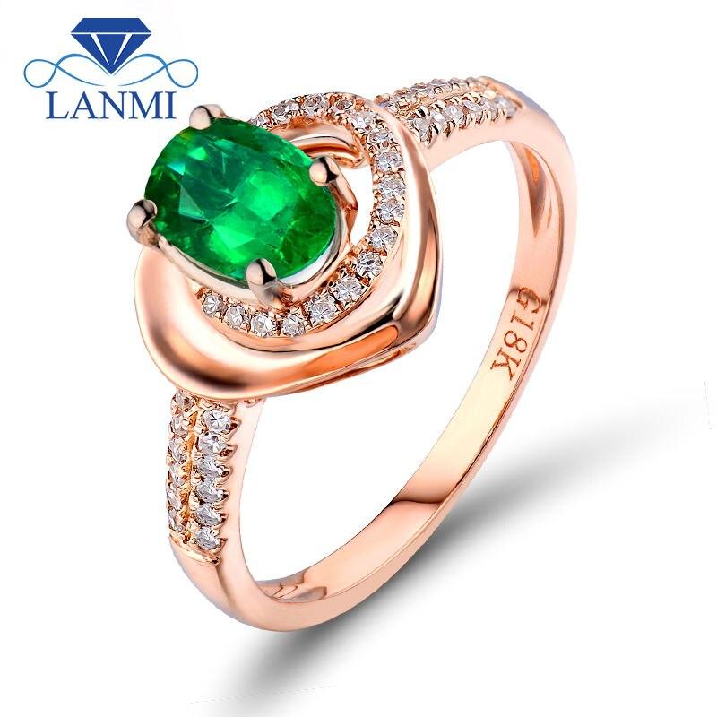 LANMI Fine bijoux ovale 4x6mm 18K or Rose naturel émeraude mariage diamant colombien gemme bague à vendre R421