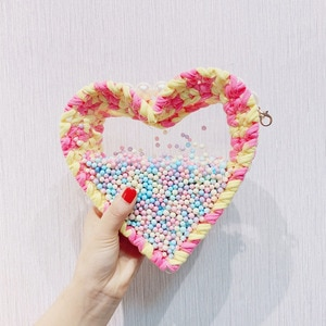 Angelatracy 2019 Pearl  Transparent Acrylic Hot Fashion DIY Weave Heart Shape Material Kit Messenger Crossbody Bag Totes Handbag