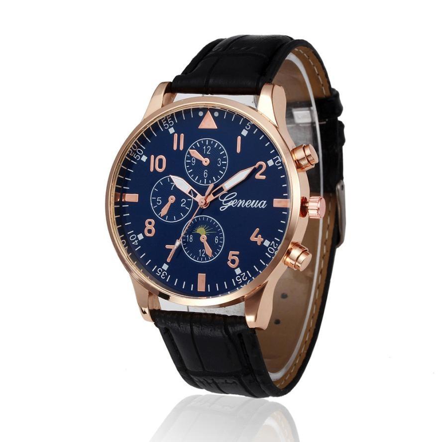 Timezone#301 Retro Men's Watch Design Leather Band Analog Alloy Quartz Wrist Watch Dress men Watch C