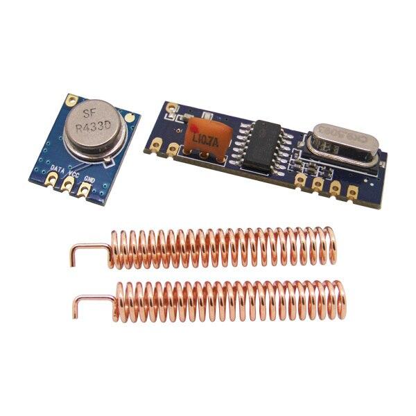 5 ensembles/lot 433 MHz DEMANDER Module Sans Fil kit (émetteur RF STX882 + récepteur RF SRX882) + 10 pièces cuivre printemps antennes