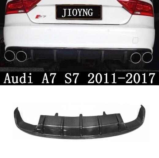 Carbon Fiber CAR REAR BUMPER LIP SPOILER AUTO REAR DIFFUSER COVER FIT FOR Audi A7 S7 2011 2012 2013 2014 2015 2016 2017