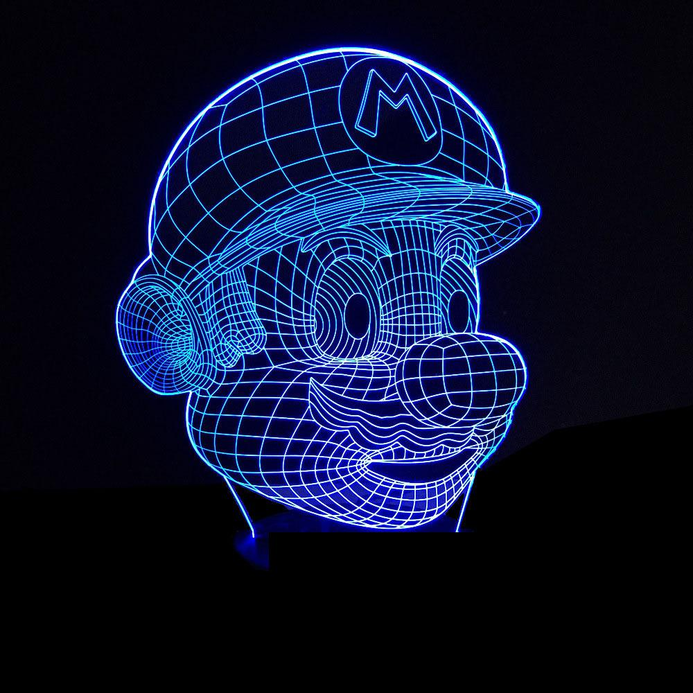 3D Vision Night Light Super Mario Image Touchment Control Colorful 3D Night Lamp 7 Colors Desk Light