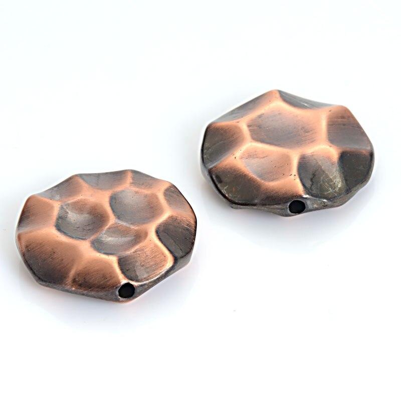 Cepillo de 10 uds/lote diseño antiguo chapado plata antigua/Cobre/bronce acrílico espaciador CCB cuentas sueltas para hacer joyas Diy