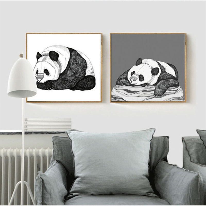 HAOCHU, pintura moderna minimalista sin marco, tema de Panda nórdico, vestíbulo de entrada, pintura de dormitorio, pintura para sala de estar, póster