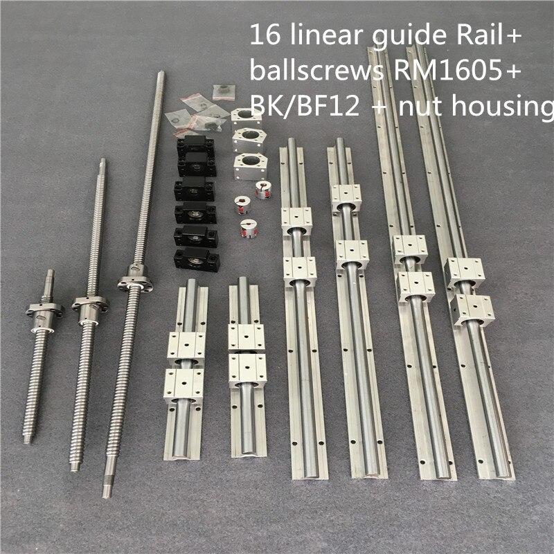 3 بالولب SFU1605-400/900/1500 + 3BK/BF12 & 3 مجموعة BK/BF12 & 6 قطعة SBR16 حواجز توجيهية خطية و 3 مقرنة لمجموعة التصنيع باستخدام الحاسب الآلي