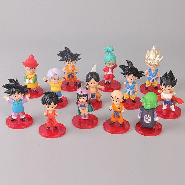 13 Uds Q Versio figuras de Dragon Ball Z hijo de Goku Gohan Goten Vegeta bañadores Bulma Pan Chichi Piccolo Krillin Anime modelo DBZ Juguetes