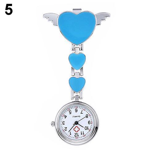 Women Lady Cute Love Heart Quartz Clip-on Fob Brooch Nurse Pocket Watch New