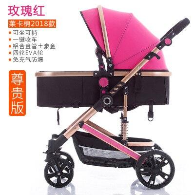 Cochecito de bebé de paisaje alto puede sentarse reclinable de dos vías amortiguador ligero Fácil plegado cochecito de bebé recién nacido