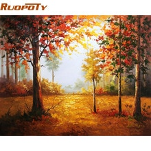 RUOPOTY-cadre peinture paysage automne   Peint à la main par numéros, image murale artistique, Unique, cadeau, décor pour la maison, 40x50cm