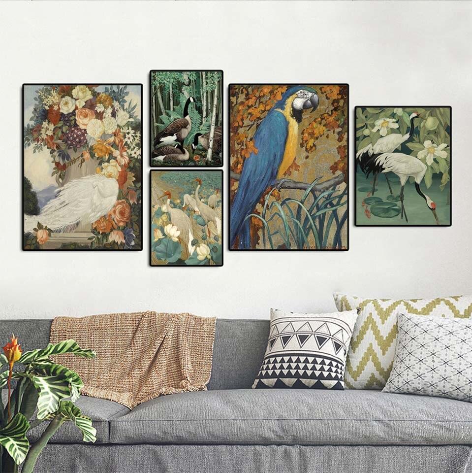 Affiche dart mural pour décoration de la maison   Toile imprimée, tableaux décoratifs pour salon les Brids, perroquet paon