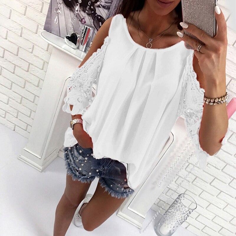 Gran oferta, Tops casuales con hombros descubiertos para mujer, camisas de verano, camiseta de manga calada, blusa para mujer, Tops tipo túnica Boho