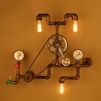 vintage retro loft industrial wind light personality water pipe gear wall lamp for restaurant bar pub cafe aisle bedroom bra