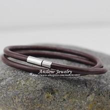 LOW0112LB nouvelle mode bijoux offre spéciale 4mm en cuir véritable breloque enveloppement hommes Bracelet magnétique cadeau