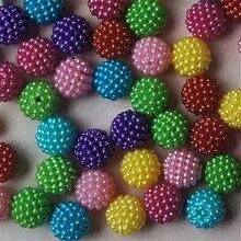 GHRQX vente chaude mélange couleur arbousier perles 12/14mm ABS perles dimitation perles rondes bijoux accessoires 20 pièces